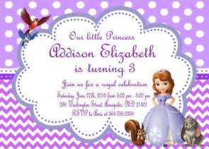 sofia the first birthday party invitation by