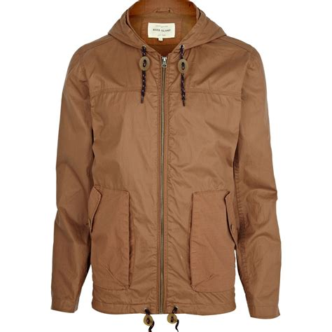 light brown jacket mens river island light brown casual hooded bomber jacket in