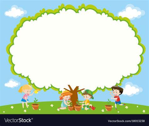 frame template  kids planting tree  garden vector image
