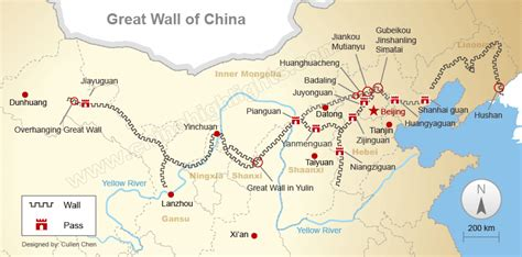 Great Wall Of China Map Outline by Great Wall Maps Where The Great Wall Is And Was