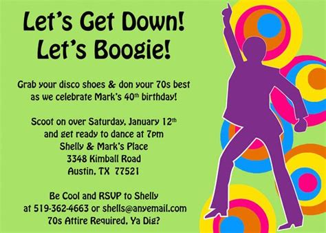 70s party invitations 70s theme party invitations a birthday cake