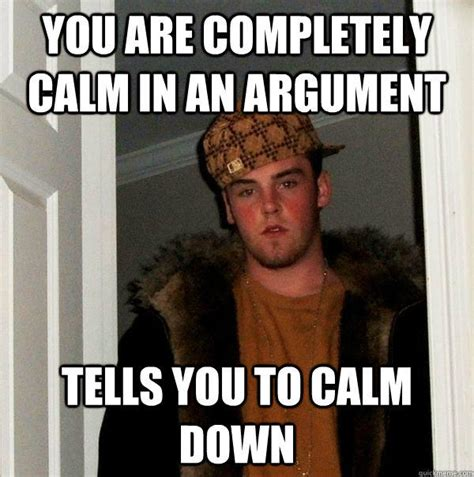 Calm The Fuck Down Meme - you are completely calm in an argument tells you to calm