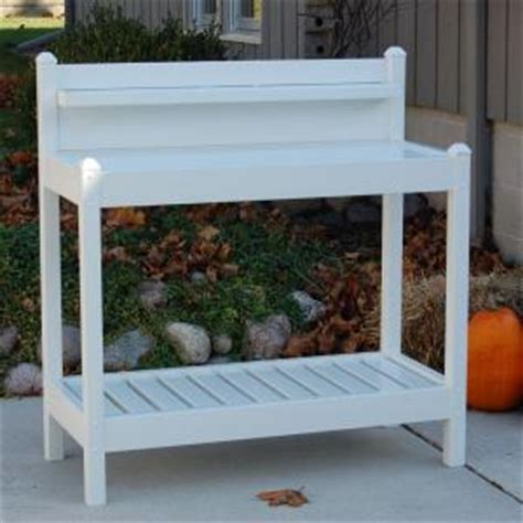 potting benches home depot dura trel 48 in w x 19 5 in d x 49 in white vinyl greenfield potting bench 11203