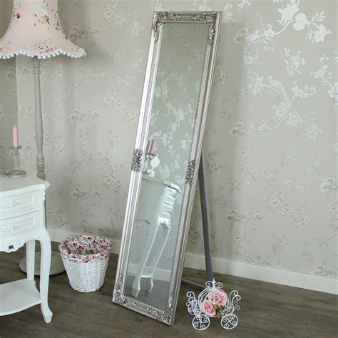 tall slim ornate silver cheval mirror shabby french chic