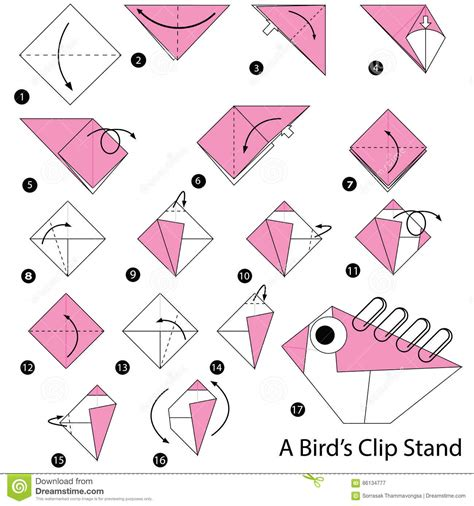 How To Make Paper Birds For - step by step how to make origami a birds clip