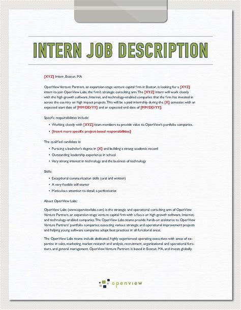 Intern Job Description Template And Hiring Plan Openview Labs Internship Project Plan Template
