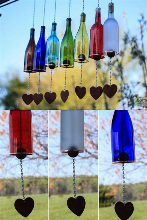 colored wine bottle wind chime  gardens