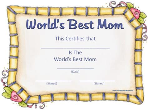 s day certificate mothers day printable certificate days