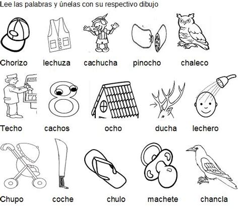 imagenes y palabras con ch letra ch actividadesprimero