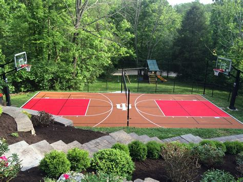 outdoor basketball court choosing colors for your backyard court or home gym