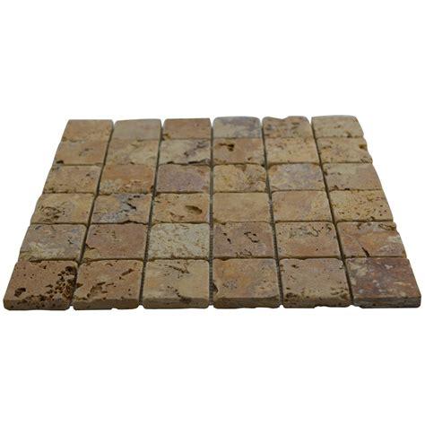 2x2 gold yellow tumbled mesh mounted travertine mosaic tiles