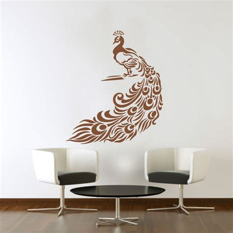 large peacock art vinyl wall sticker diy home decor wall