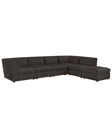 stacey leather 6 modular sectional sofa macys stacey leather sectional sofa 6 modular 3