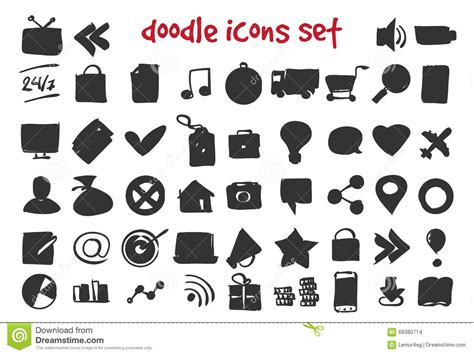 doodle icons free vector vector doodle icons set stock vector image 68380714