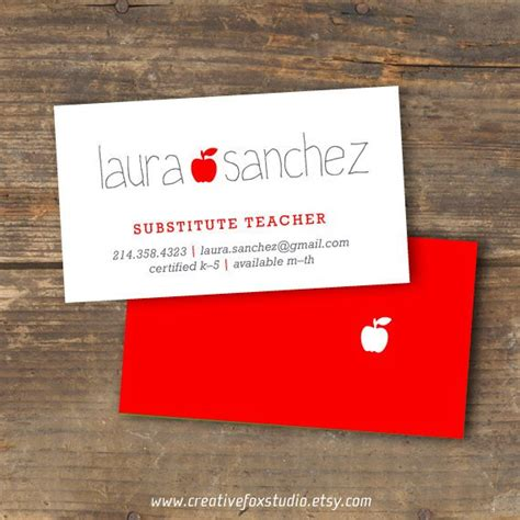 business cards for substitute teachers template or substitute business card applelicious tutor
