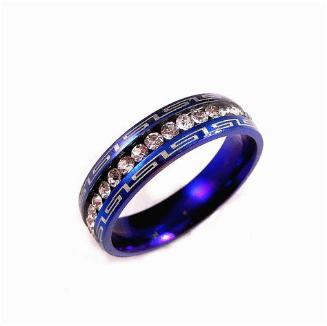 blue stainless steel clear cz 5mm wedding band engagement