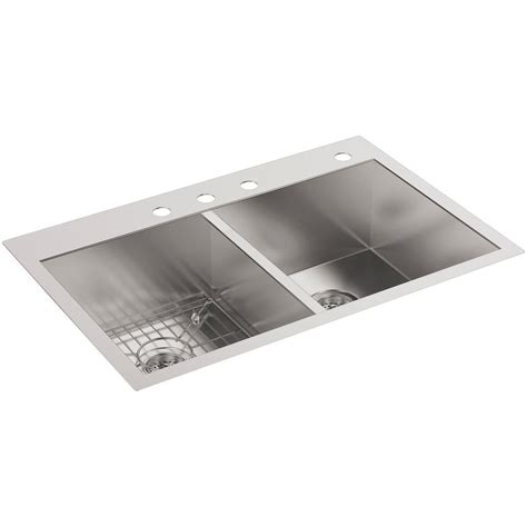 in sink dish rack stainless steel kohler vault drop in undermount stainless steel 33 in 4