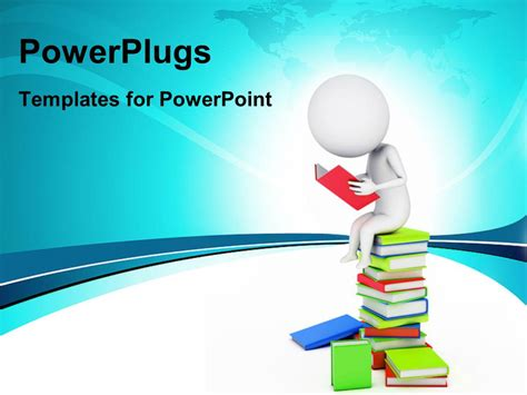 Powerpoint Template A Number Of Books And A Person Reading One 10731 Reading Powerpoint Template