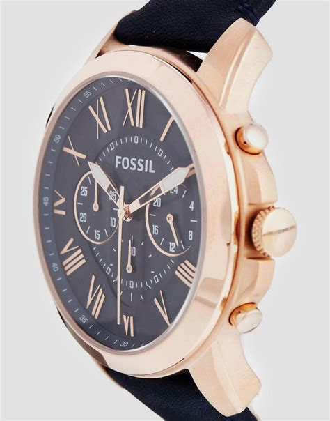 Fossil Fs 4835 Leather Blue Black Grade fossil grant blue leather chronograph octer 163 95 00