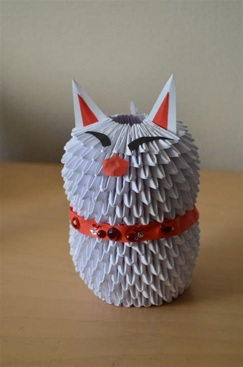 Origami 3d Cat - 3d origami japanese cat by denierim on deviantart