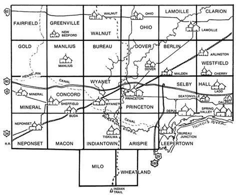 Bureau County Il Court Records Bureau County Genealogical Society Our Major Resources Maps Combined Map