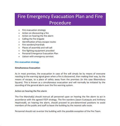 sle emergency evacuation plan template sle evacuation plan template 9 free documents in pdf