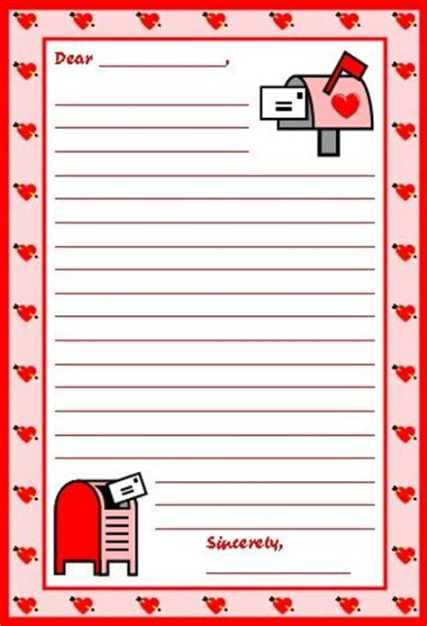 s day lined paper template card lesson plans for teachers writing papers and valentines