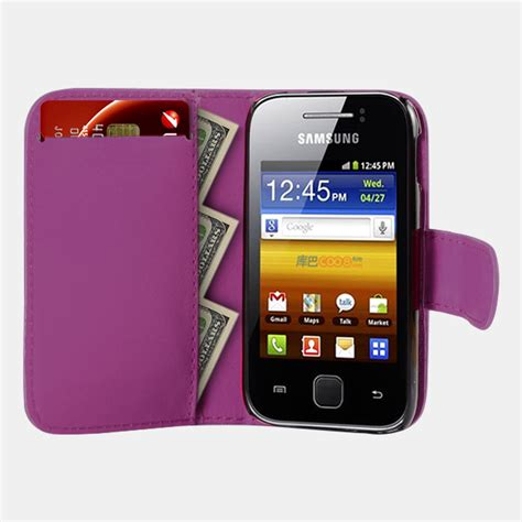 Casing Hp Samsung Galaxy S5360 purple wallet leather phone card slots for samsung galaxy gt s5360 ebay