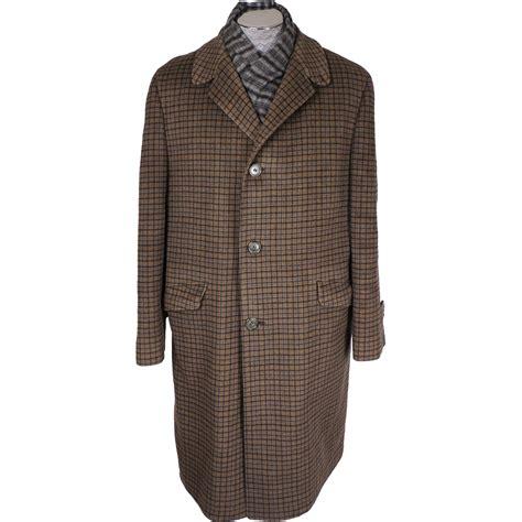 vintage 60s wool mens coat tattersall check pattern eaton