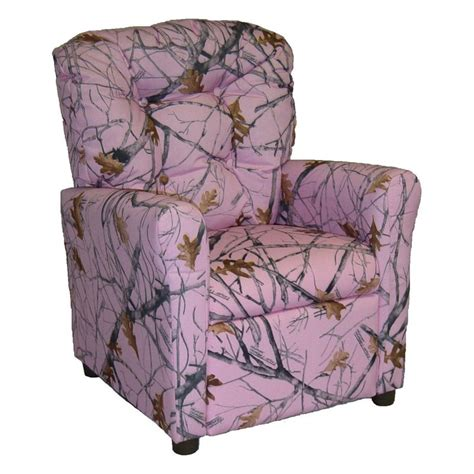 Pink Camo Childrens Recliner by Brazil Furniture 4 Button Back Child Recliner Pink Snow