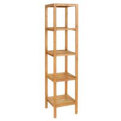 Bamboo Bathroom Shelves Homfa Bamboo Bathroom Shelf 5 Tier Tower Free Standing Rack Import It All