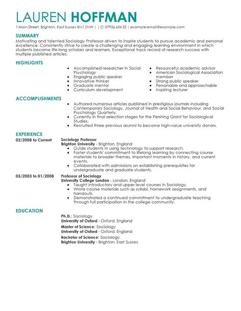 Examples Of A Professional Resume by Best Professor Resume Example Livecareer