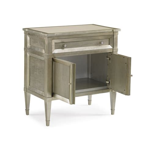 Silver Leaf Nightstand Silver Leaf Nightstand Oriana Modern Classic Antique Silver Leaf 3 Drawer Nightstand Kathy Kuo