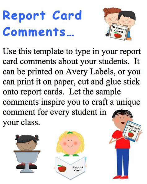 report card comments template 172 best report cards images on remarks for