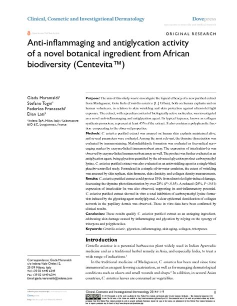 The antiaging activity of a novel botanical ingredient