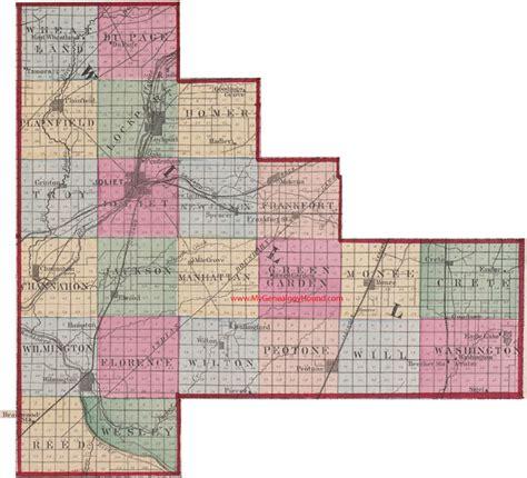 map of joliet il will county illinois 1870 map joliet plainfield