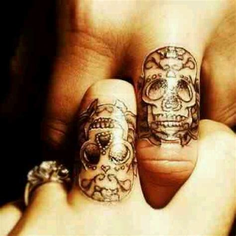 hand tattoos for couples marriage till do us part skull