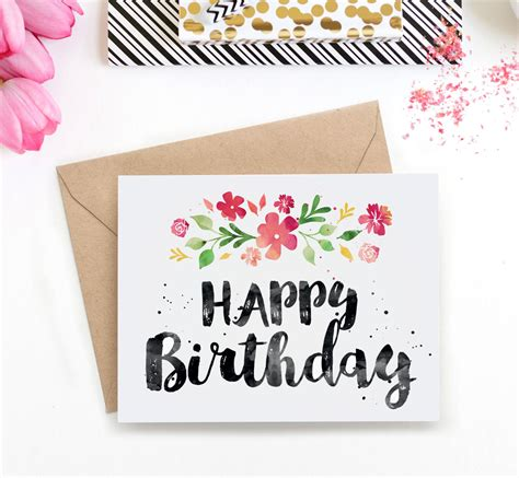 printable birthday cards diy printable birthday card spring blossoms watercolor