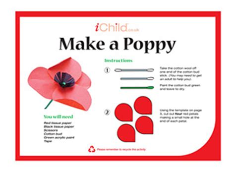 How To Make A Paper Poppy - make a remembrance day poppy ichild