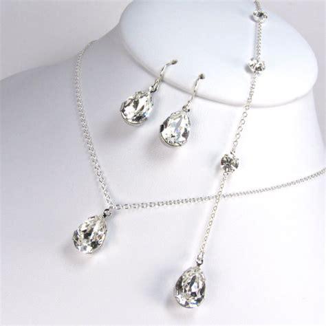 backdrop bridal necklace pear shaped jewelry set back drop