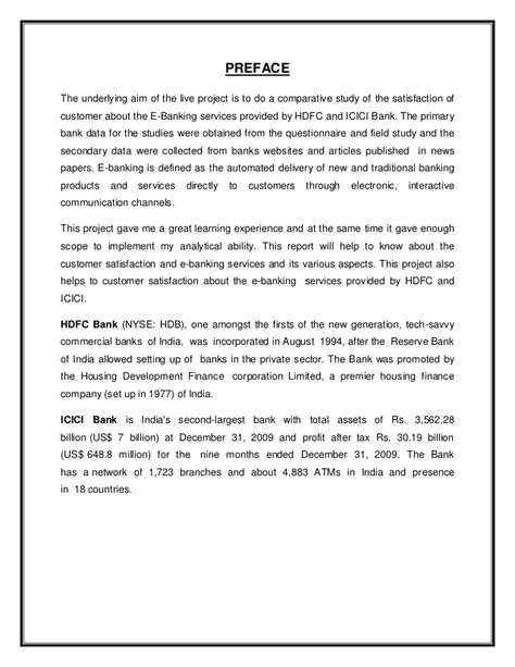 Mba Marketing Project On Icici Bank by Satisfaction From E Banking Services A Comparative Study