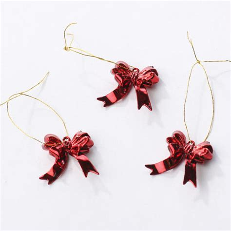 miniature red metallic bow ornaments christmas