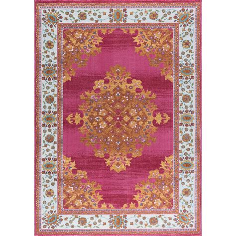 pink area rug 5x8 tayse rugs pink 5 ft 3 in x 7 ft 3 in area rug ara5742 5x8 the home depot