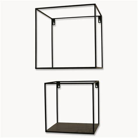 Brenton Square Black Metal Shelf Set Of Two By One World Black Metal Shelves