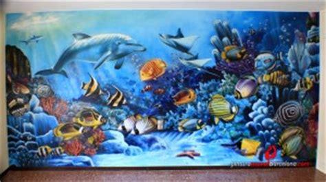 mural pintado fondo marino spray pintura mural