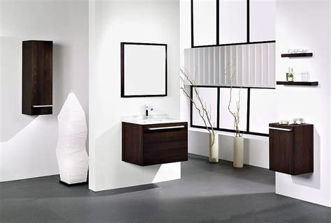 Modern White Bathroom With Wooden Washbasin Cabinet Ideas Bathroom Furniture Design