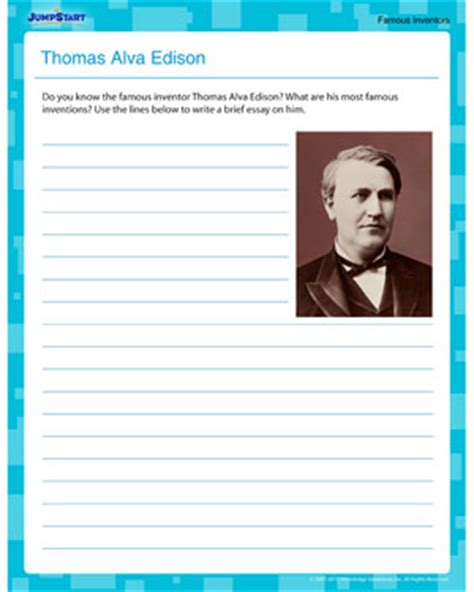 the write spot to jumpstart your writing discoveries books alva edison inventors worksheet for 5th