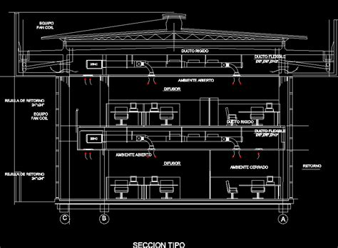 Ac Section by Central Air Conditioning Installation Plan Office Building Dwg Detail For Autocad Designscad