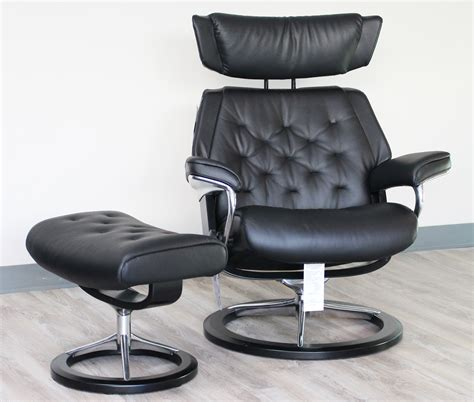 Stressless Leather Recliners by Stressless Skyline Signature Base Medium Black Leather Recliner Chair And Ottoman By