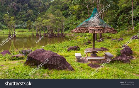 Bench Philippines Official Website Gazebo Bench On Shore Lake Mangrove Stock Photo 551073616